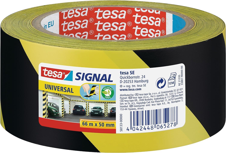 Tesa 58133-00000-00 - Cinta de señalización temporal PP adhesiva, amarillo y negro