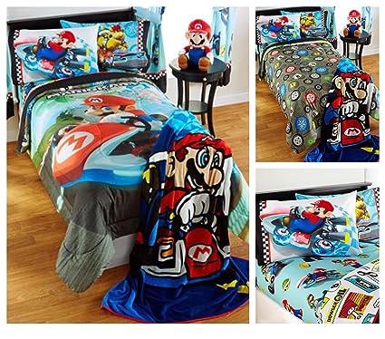 Edredon De Mario Bros.Super Mario Bros Mario Kart Edredon Reversible Con Los Pliegos