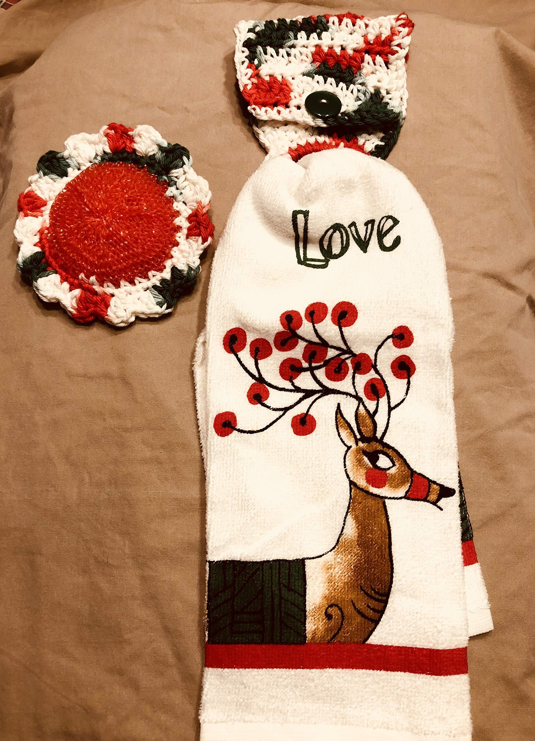 Free ship to USA - 3 piece set - Christmas Love Reindeer 1 CROCHET Plastic Scrubber, Towel holder & KITCHEN hand TOWEL light weight terry cloth - 100% cotton yarn