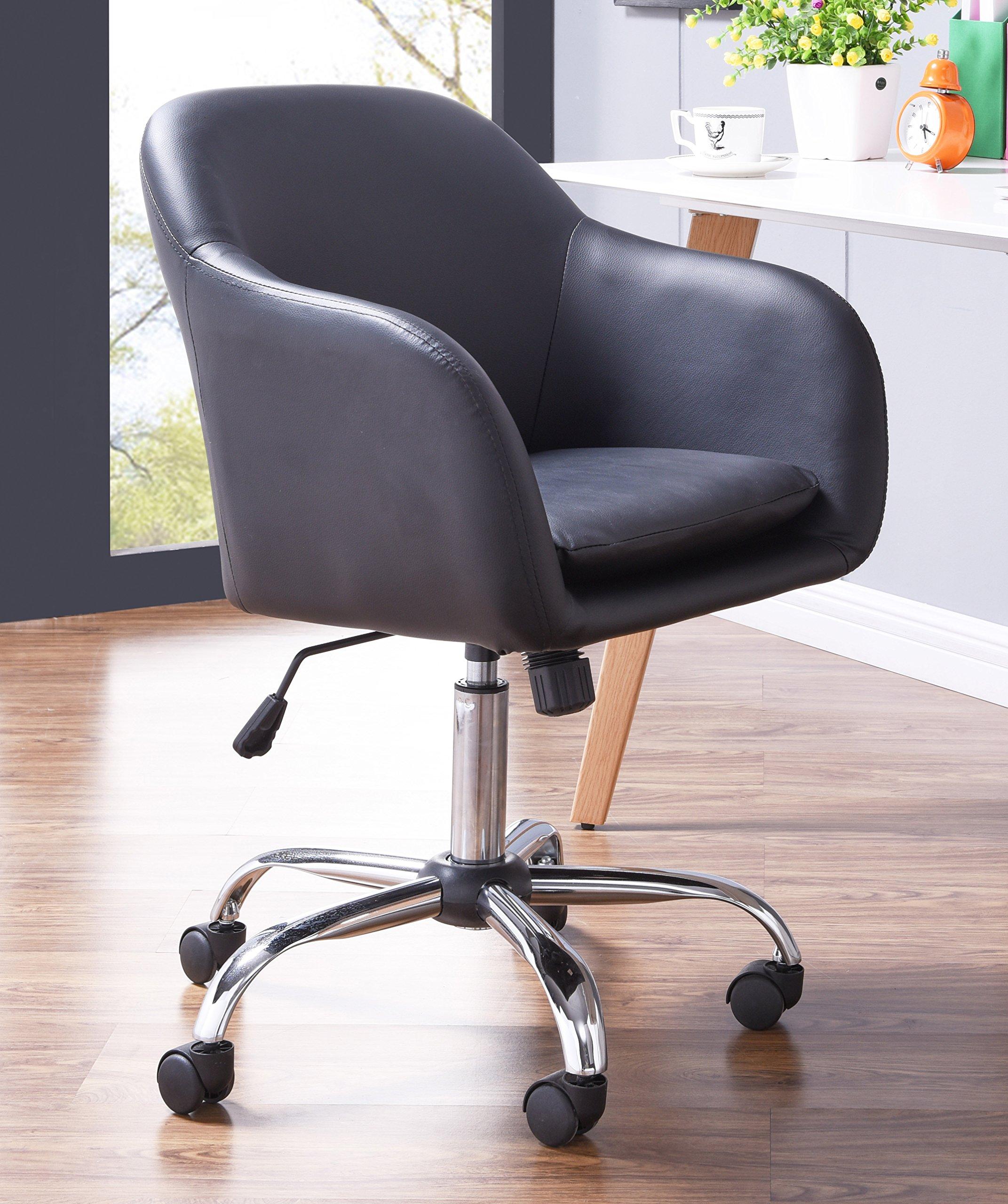 BestOfficeChoice 18638-BK Faux Leather Office Desk Chair, Low Back, Black