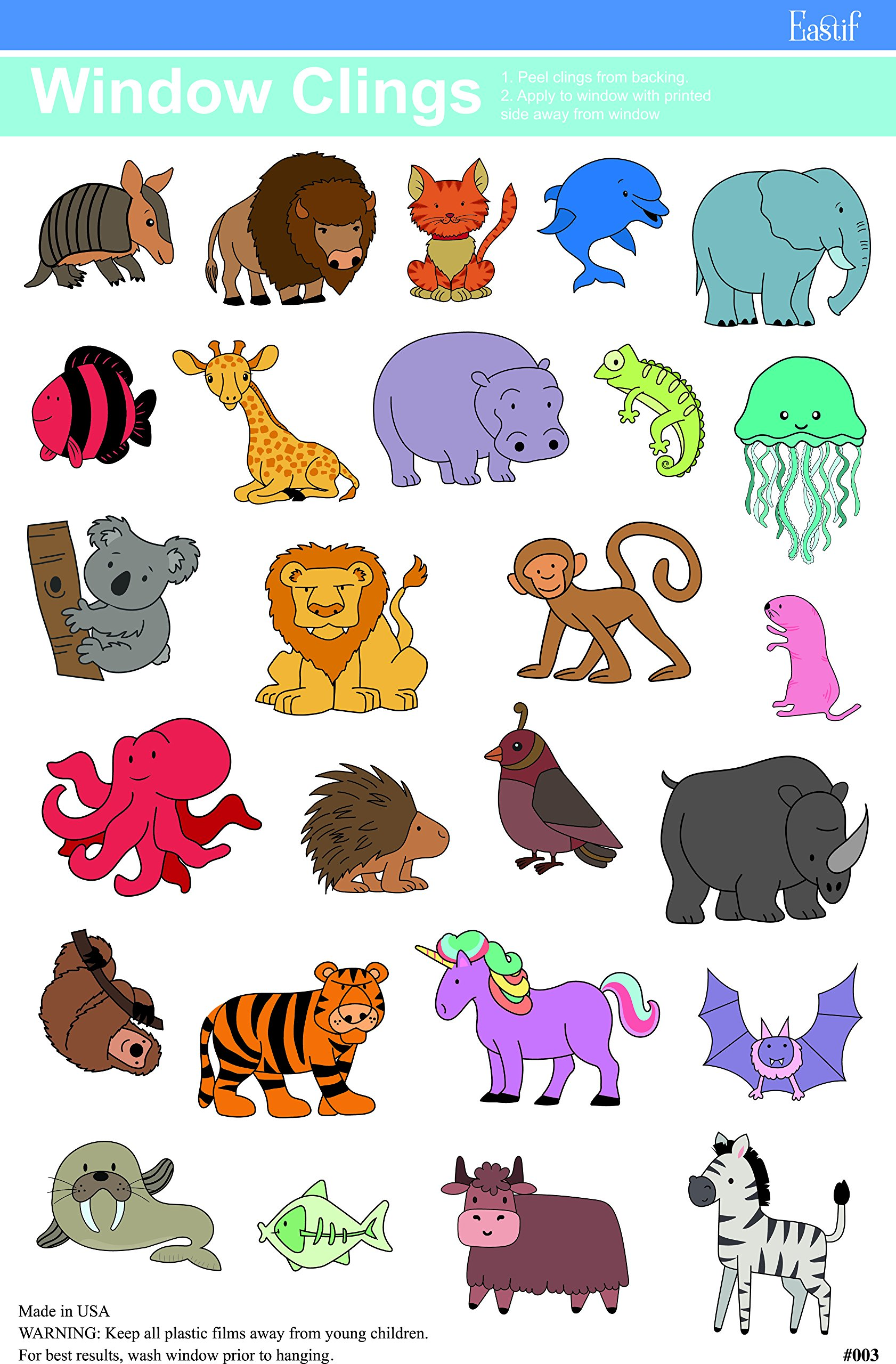 ABC & Animals Window Cling by Eastif (Image #3)