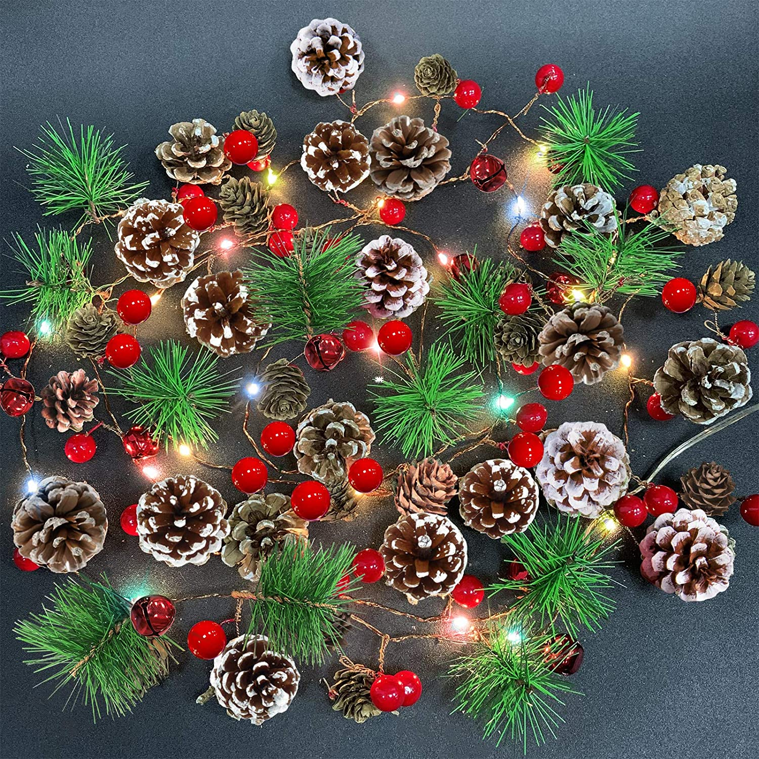 Camlinbo Garland with Lights Christmas Lights Battery Operated, 10FT 30LED Christmas Garland with Lights Pre-lit Garland Mantle Garland, Christmas Decoration Indoor Outdoor Xmas Home Decor(Colorful)
