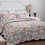 "Printed Quilt Coverlet Set King(106""x96"") Coral Multi Coastal Pattern Lightweight Hypoallergenic Microfiber ""Seaside Coral"" by Bedsure"