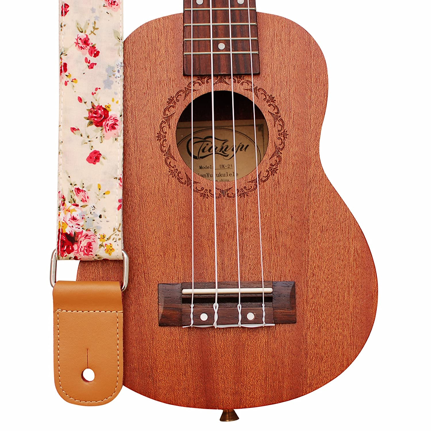 "MUSIC FIRST Original Design ""Rosa Multiflora in Cream"" Soft Cotton & Genuine Leather Ukulele Strap Ukulele Shoulder Strap WSDM-U-STP026"