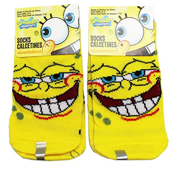 Spongebob Squarepants Cringe Smile Yellow Kids Socks (Size 4-6, 2 Pairs)