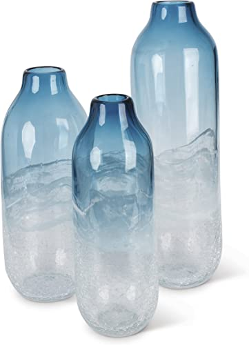 Lone Elm 94098 Tall Art Glass Vase Set of 3 , 5.5 x 5.5 x 17.7