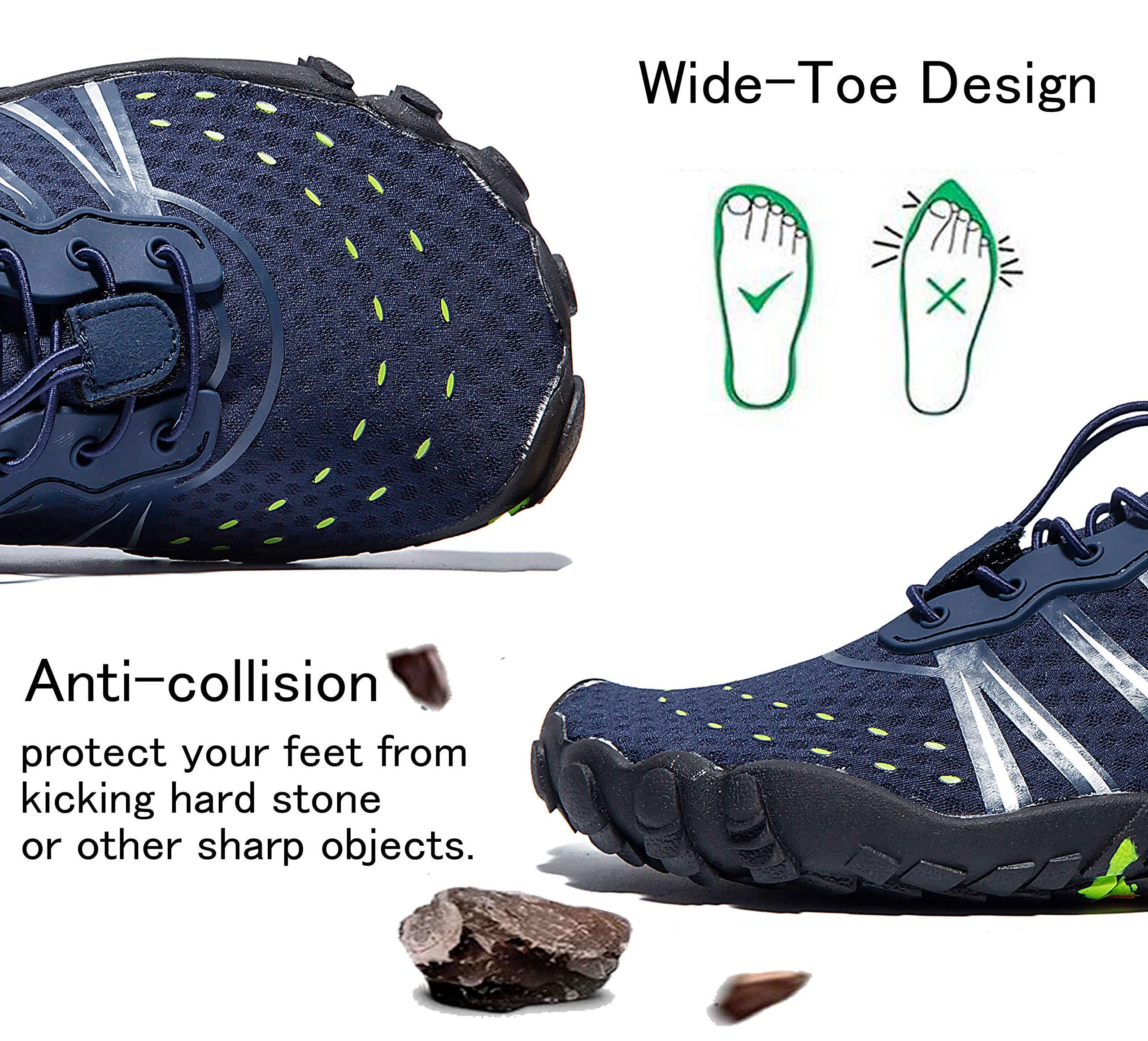 LINGTOM Mens Womens Aqua Water Shoes Quick Dry Barefoot Sports Exercise for Walking Swimming Diving Beach Surf Pool Yoga,Dark Blue 12.5 M US Women / 11 M US Men by LINGTOM (Image #4)
