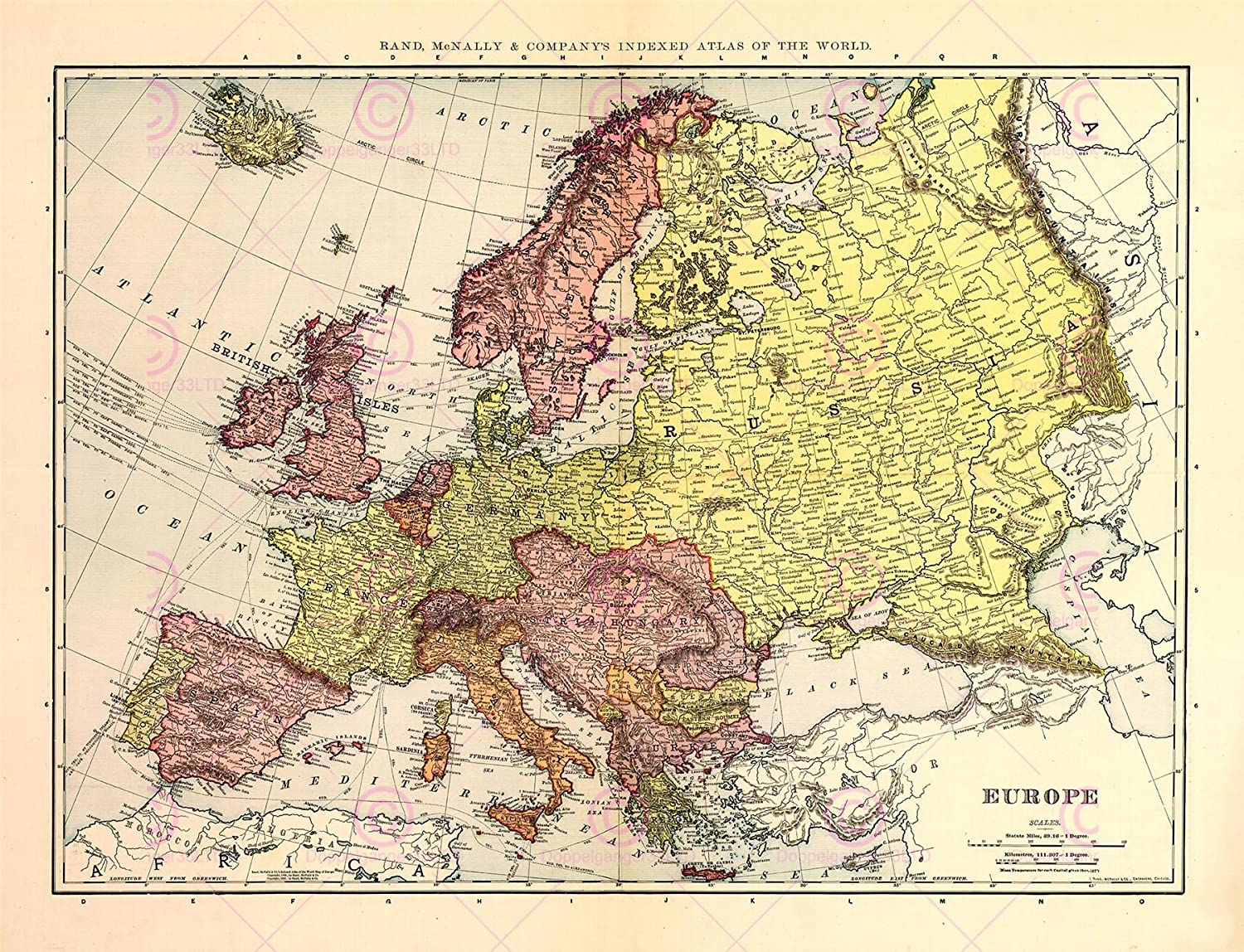 MAP ANTIQUE McNALLY 1898 EUROPE OLD HISTORIC LARGE REPLICA POSTER PRINT PAM1046