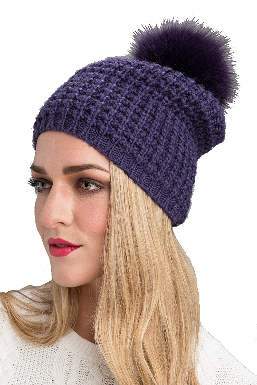 8ac8e1d447e OS Maroon Women s Kyi Kyi Genuine Fox Fur Pom Pom Waffle Knit Beanie Hat