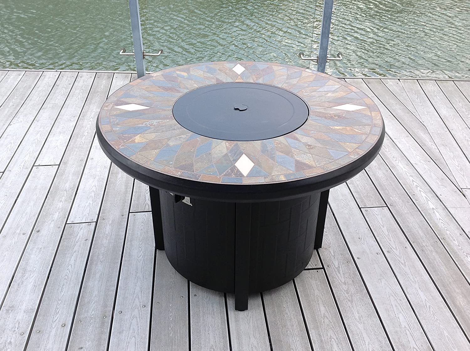 Pebble Lane Living 42 Natural Slate and Copper Top Outdoor Round Propane Fire Pit Table- Bronze