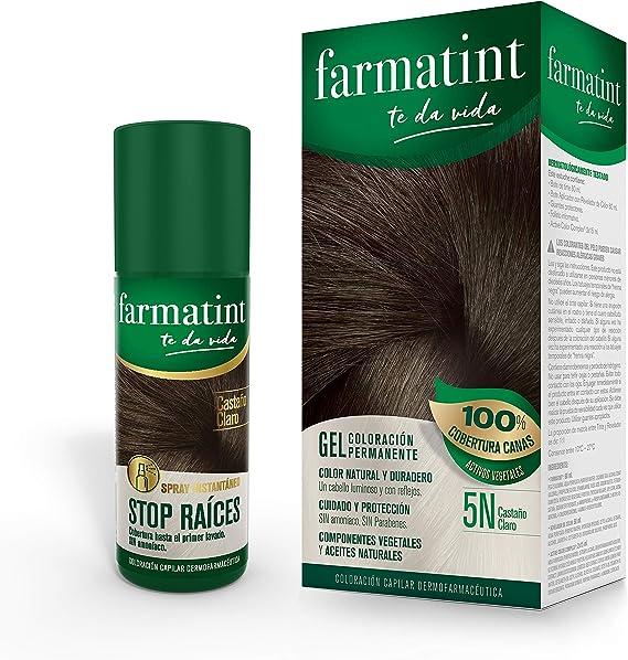 Pack Farmatint - Tinte 5N Castaño Claro + Stop Raíces Castaño Claro - Color natural y duradero - Componentes vegetales y aceites naturales - Sin ...