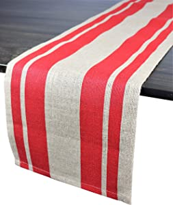 Crabtree Collection Burlap Holiday Table Runner 72 Inch Farmhouse Runners Rustic Centerpiece Decorations Shabby Chic Decor - (Red Stripe)