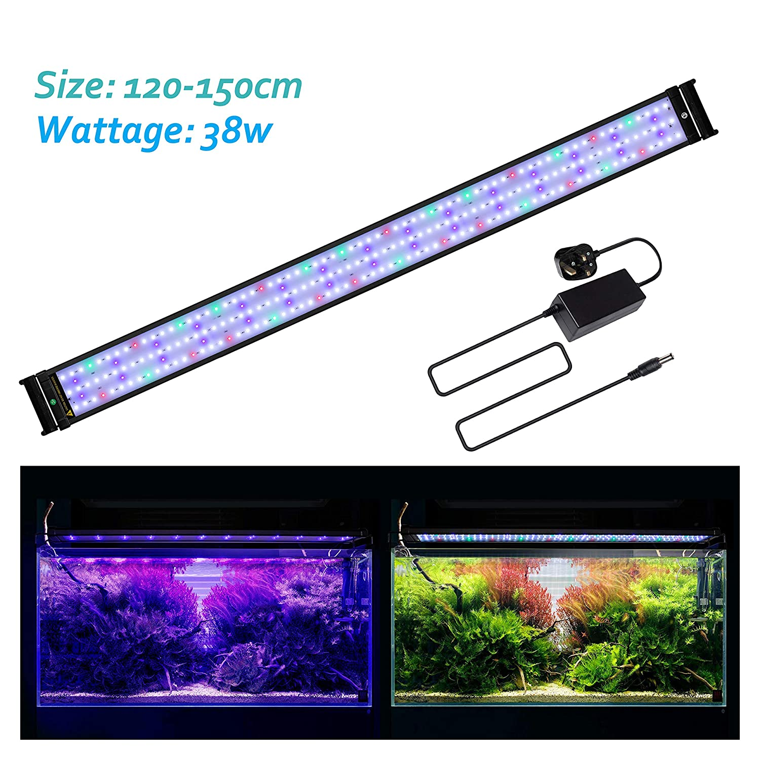 Full Spectrum 116cm-136cm 46-54 inch Full Spectrum 116cm-136cm 46-54 inch JOYHILL LED Full Spectrum Aquarium Lights,Fish Tank Light with Extendable Brackets,Suitable for Aquatic Reef Coral Plants and Fish Keeping 38W (Fit 116cm-136cm 46-54 inch)
