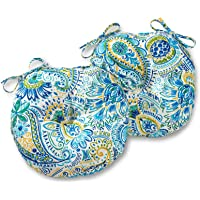 Greendale Home Fashions AZ5816S2-BALTIC Paisley Outdoor 15-inch Bistro Seat Cushion (Set of 2)
