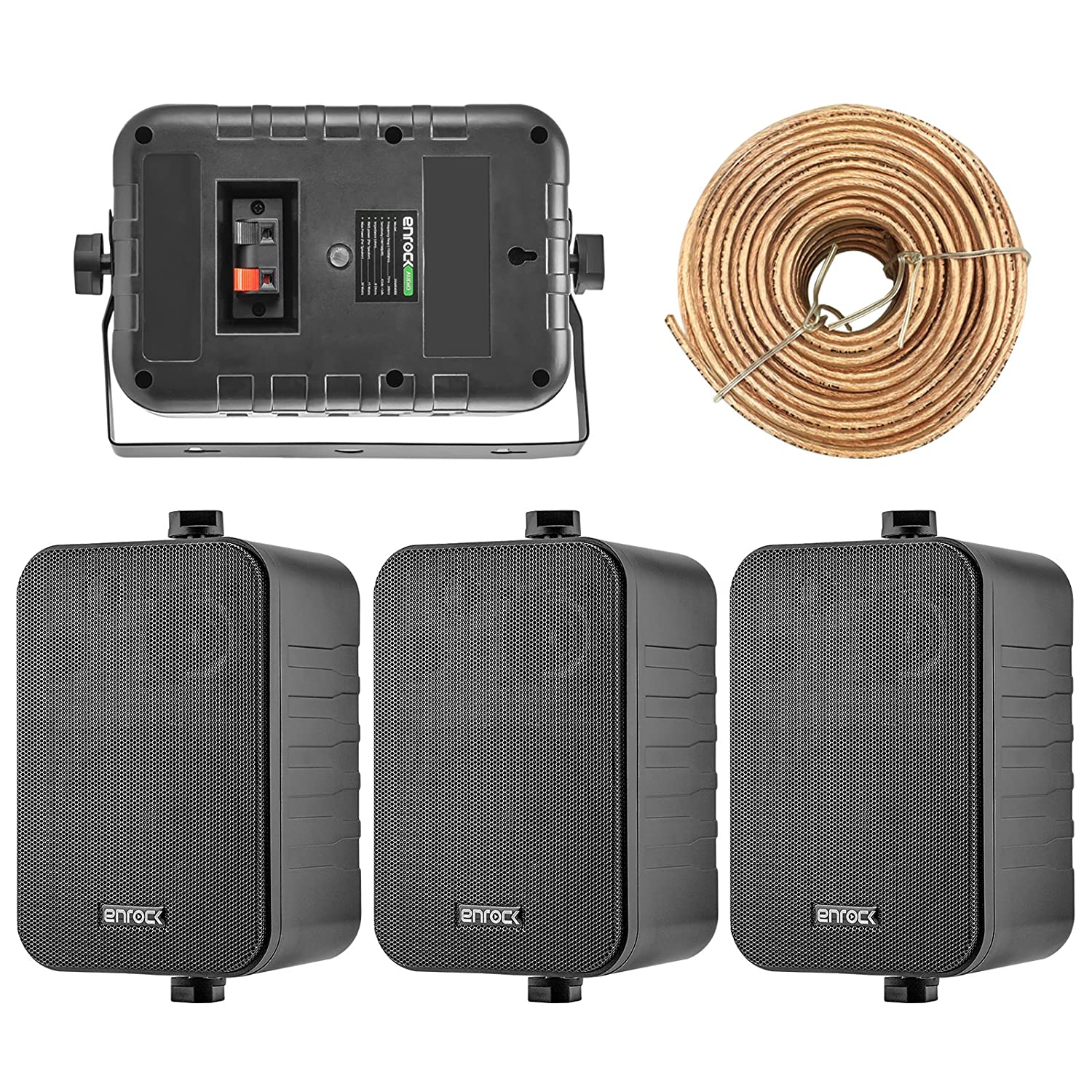 2 Pairs of Enrock Audio EKMR408W 4-Inch 200 Watts White 3-Way Indoor//Outdoor Marine Boat Box-Speaker Combo with 50 Foot 18 Guage Speaker Wire 4X Speakers Bundle Package