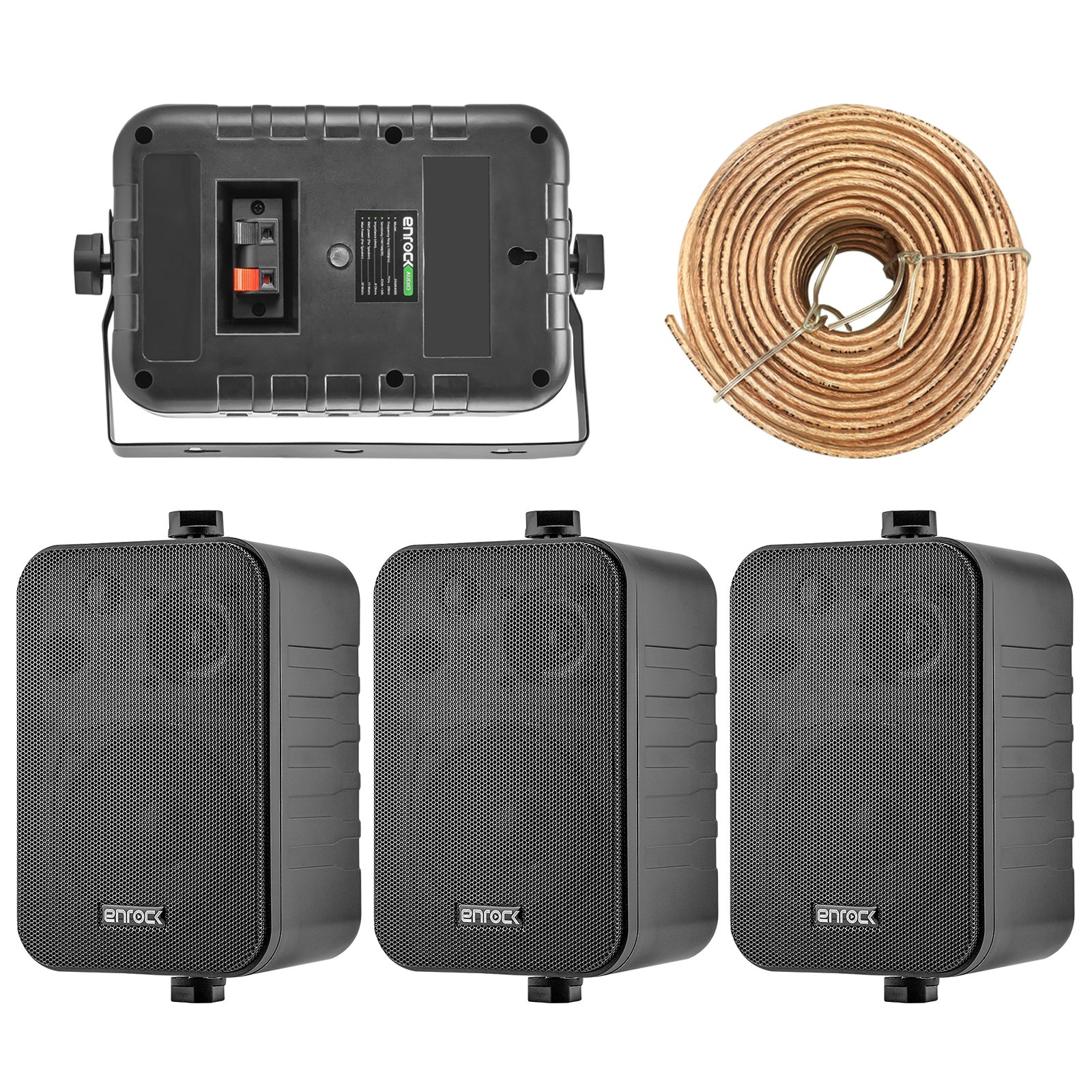 4x Speakers Bundle Package: 2 Pairs of Enrock Audio EKMR408B 4-Inch 200 Watts Black 3-Way Indoor / Outdoor Marine Boat Box-Speaker Combo With 50 Foot 18 Guage Speaker Wire