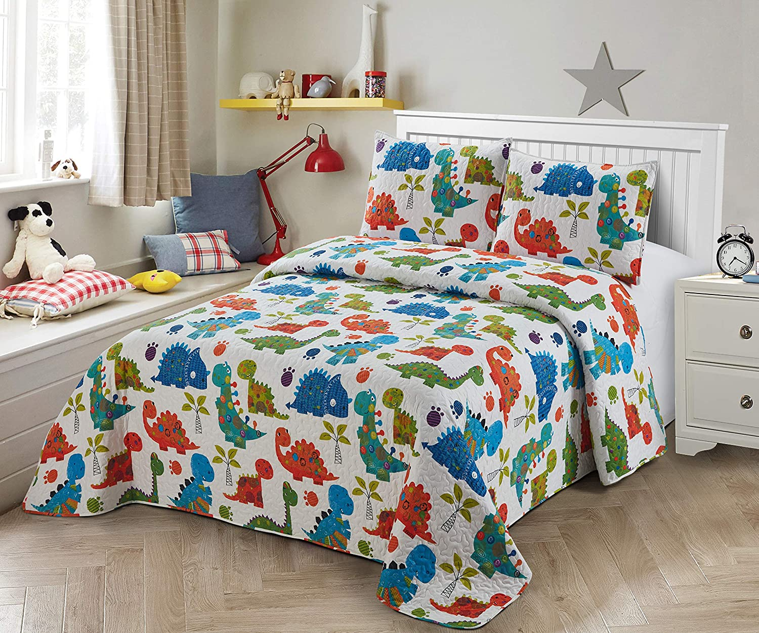 Better Home Style Blue Green Orange Purple Dinosaurs World Kids/Boys/Toddler 3 Piece Coverlet Bedspread Quilt Set with Pillowcases # Baby Dinosaur (Queen/Full)