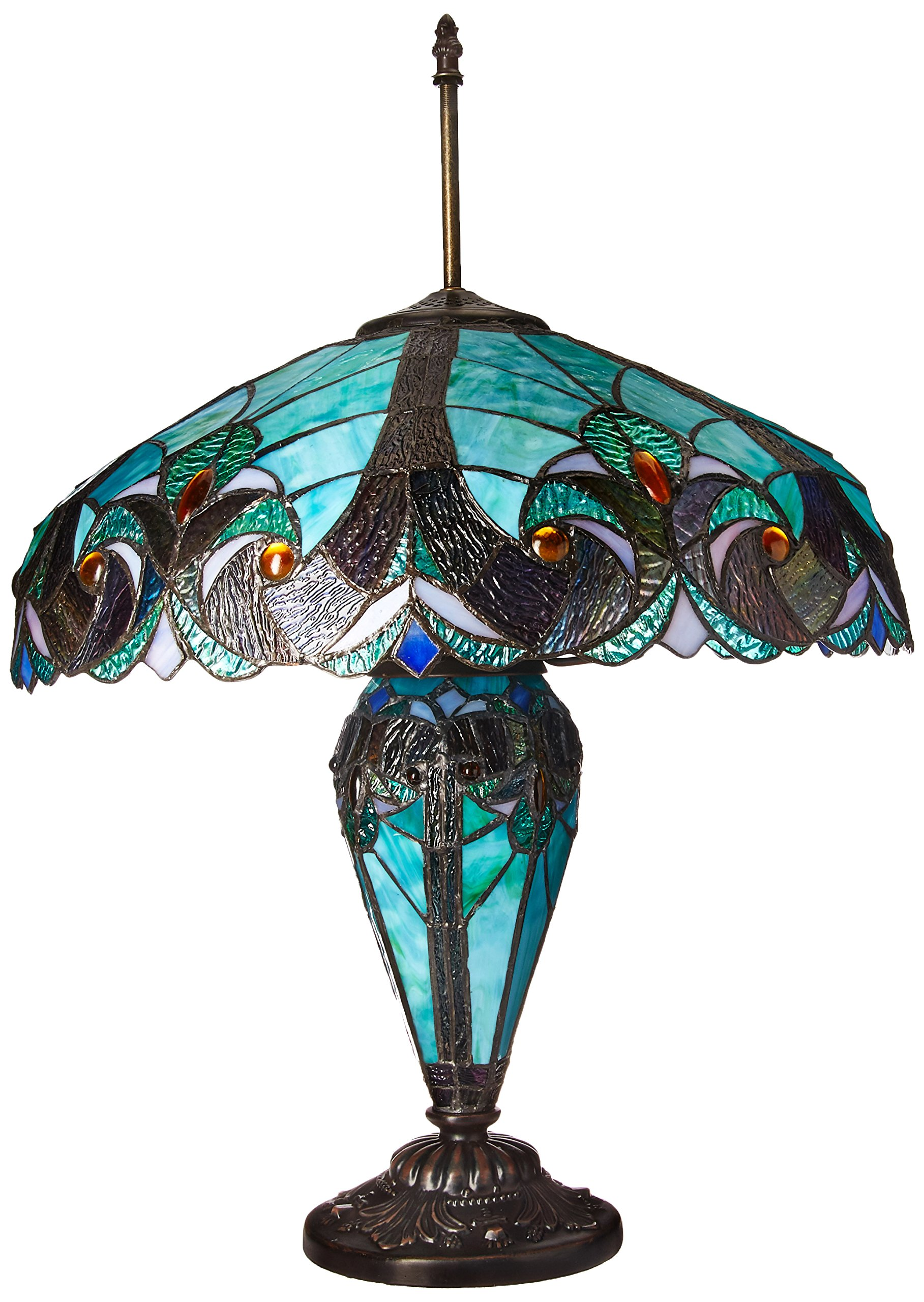 Chloe Lighting CH18780VG18-DT3 ''LIAISON'' Tiffany-Style Victorian 3 Light Double Lit Table Lamp 18-Inch Shade