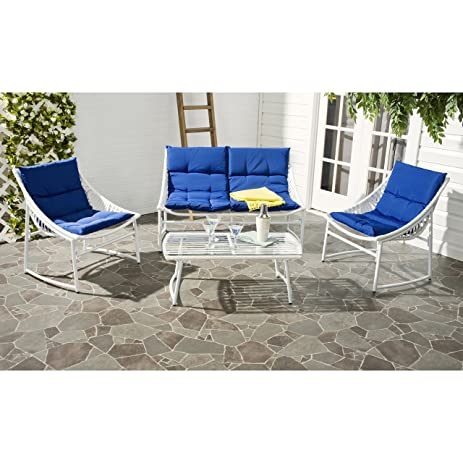 Safavieh 4 Piece Outdoor Collection Berkane Patio Set, White And Navy