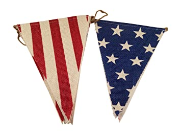 amazon com burlap flag banner with stars and stripes 4th of july