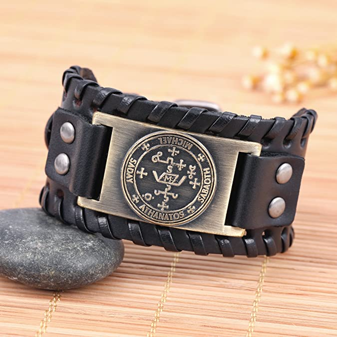 fishhook The Sigil of the Archangel MICHAEL for Protection Courage Power and Strength Bangle Leather Bracelet 9A7roh39