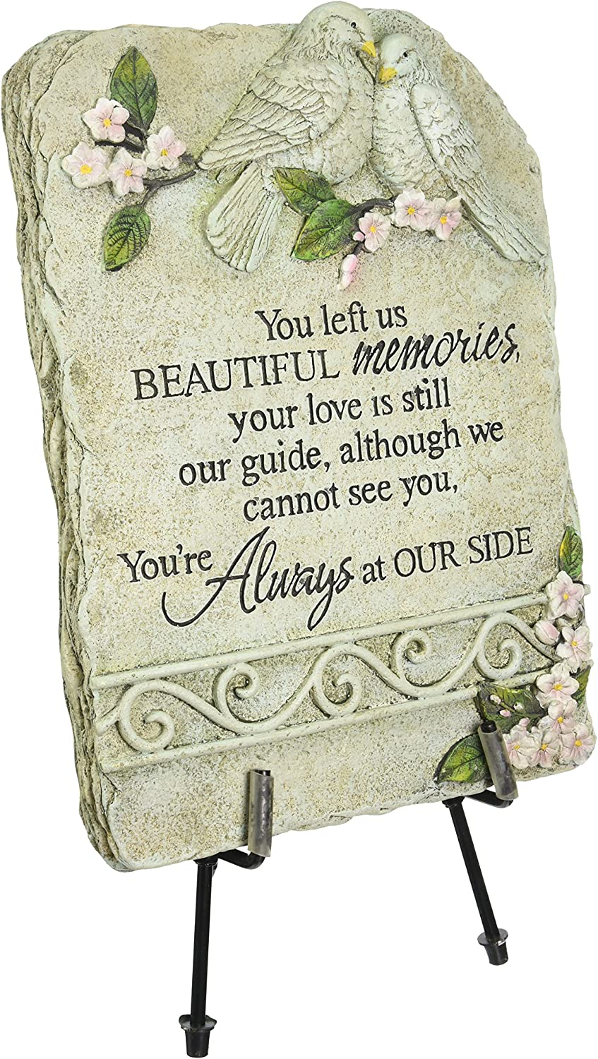 Carson Home Accents Peaceful Reflections Garden Marker with Easel Stand, 15-Inch High, Memories : Outdoor Decorative Stones : Garden & Outdoor