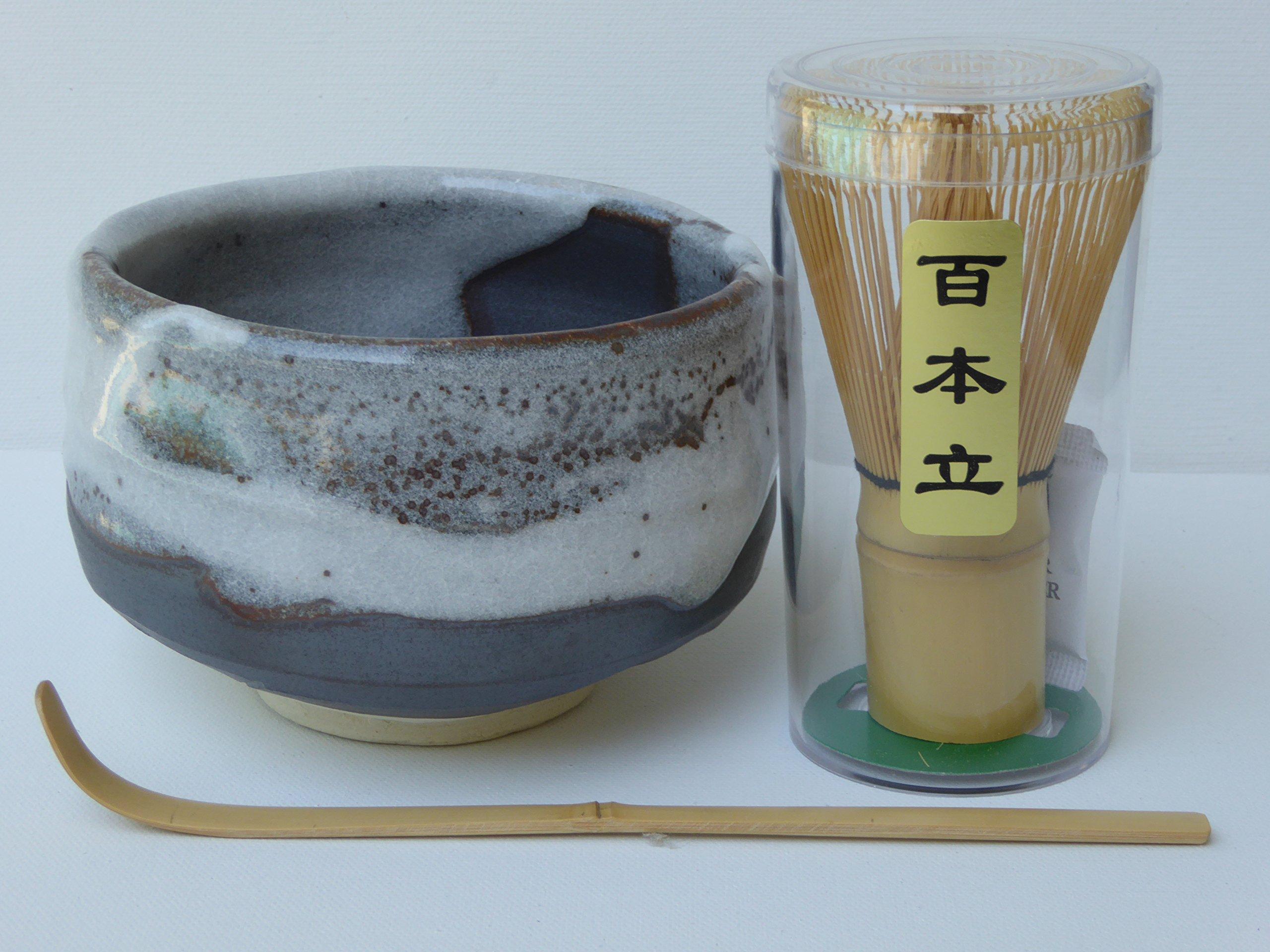 YokohamaUSA Matcha Bowl Set SHINSETSU Bamboo Scoop 100 Whisk/ Made in Japan by KUMI