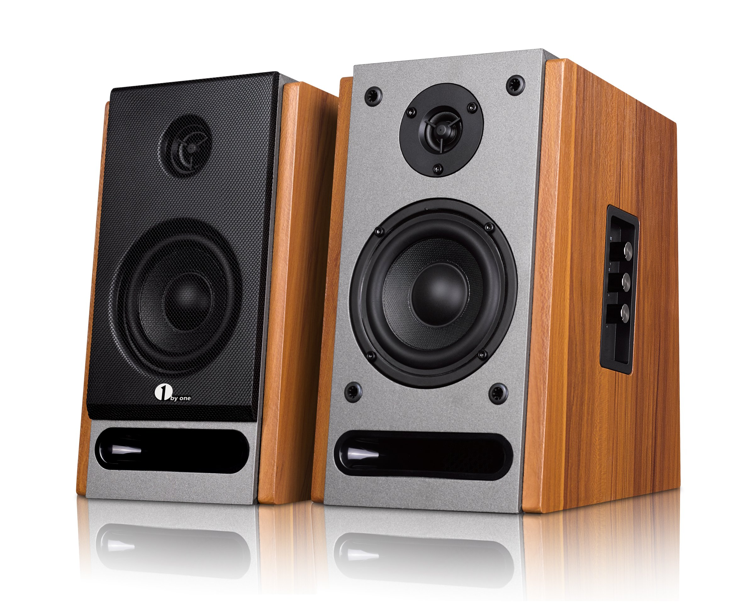 1byone Powered Bluetooth Classic Bookshelf Speaker with 4'' Woofer and 1'' Tweeter, 2X21W RMS