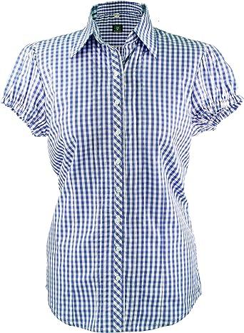 OS Trachten - Blusa para Mujer a Cuadros en Azul, Azul y ...
