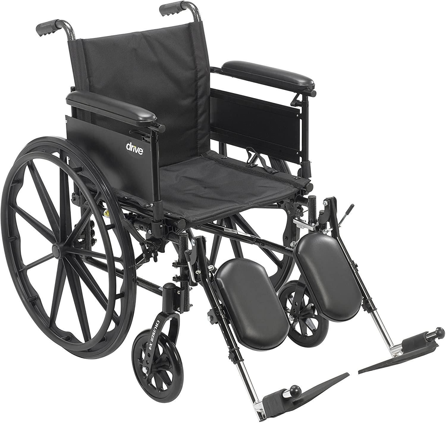 "Drive Medical Cruiser X4 Lightweight Dual Axle Wheelchair with Adjustable Detachable Arms, Full Arms, Elevating Leg Rests, 18"" Seat 91MNdOjdI4L"