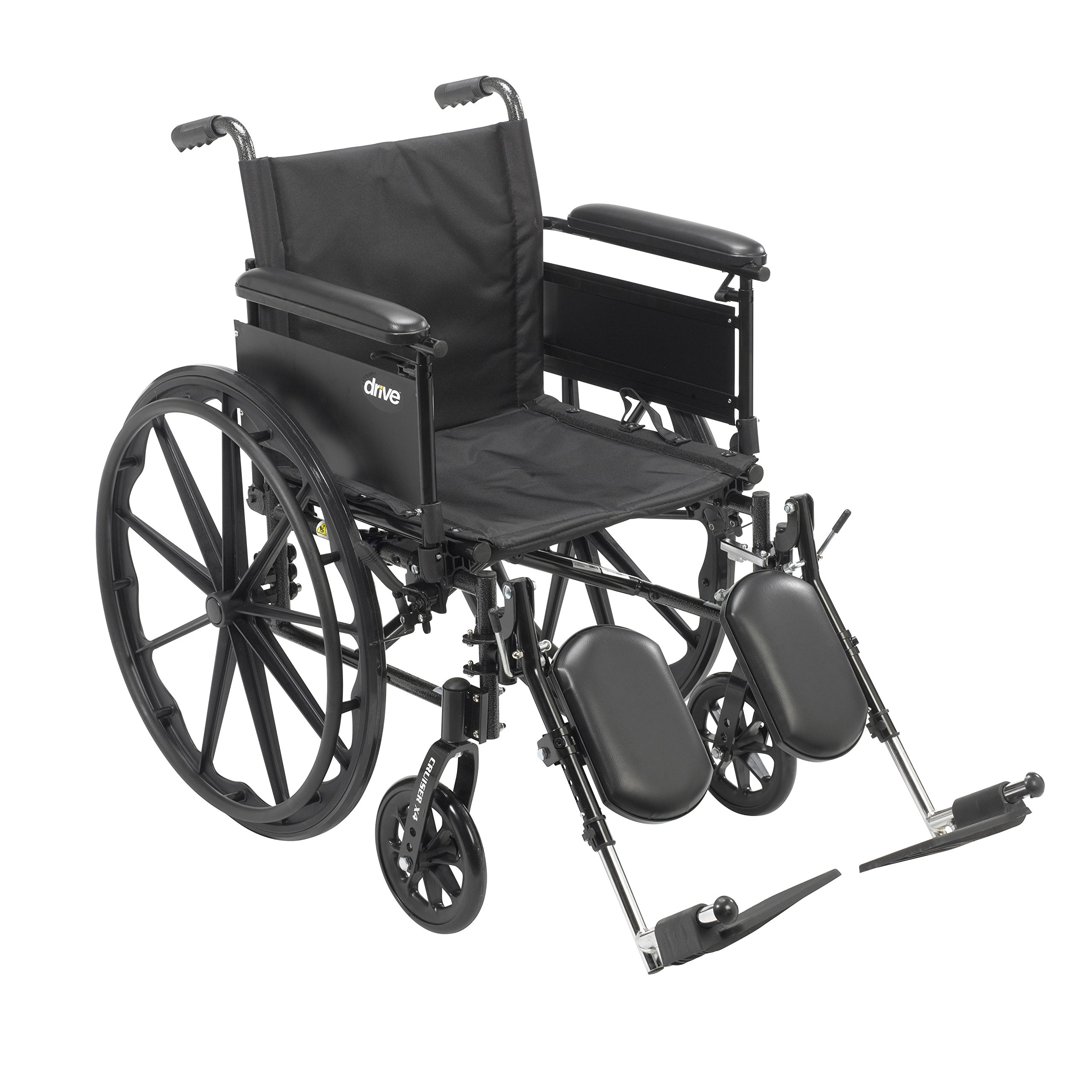 Drive Medical Cruiser X4 Lightweight Dual Axle Wheelchair with Adjustable Detachable Arms, Full Arms, Elevating Leg Rests, 20'' Seat