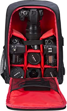 Red G-raphy Camera Bag Camera Backpack Photography Waterproof with Laptop Compartment//Tripod Holder for DSLR SLR Cameras//Lenses//Flashes etc