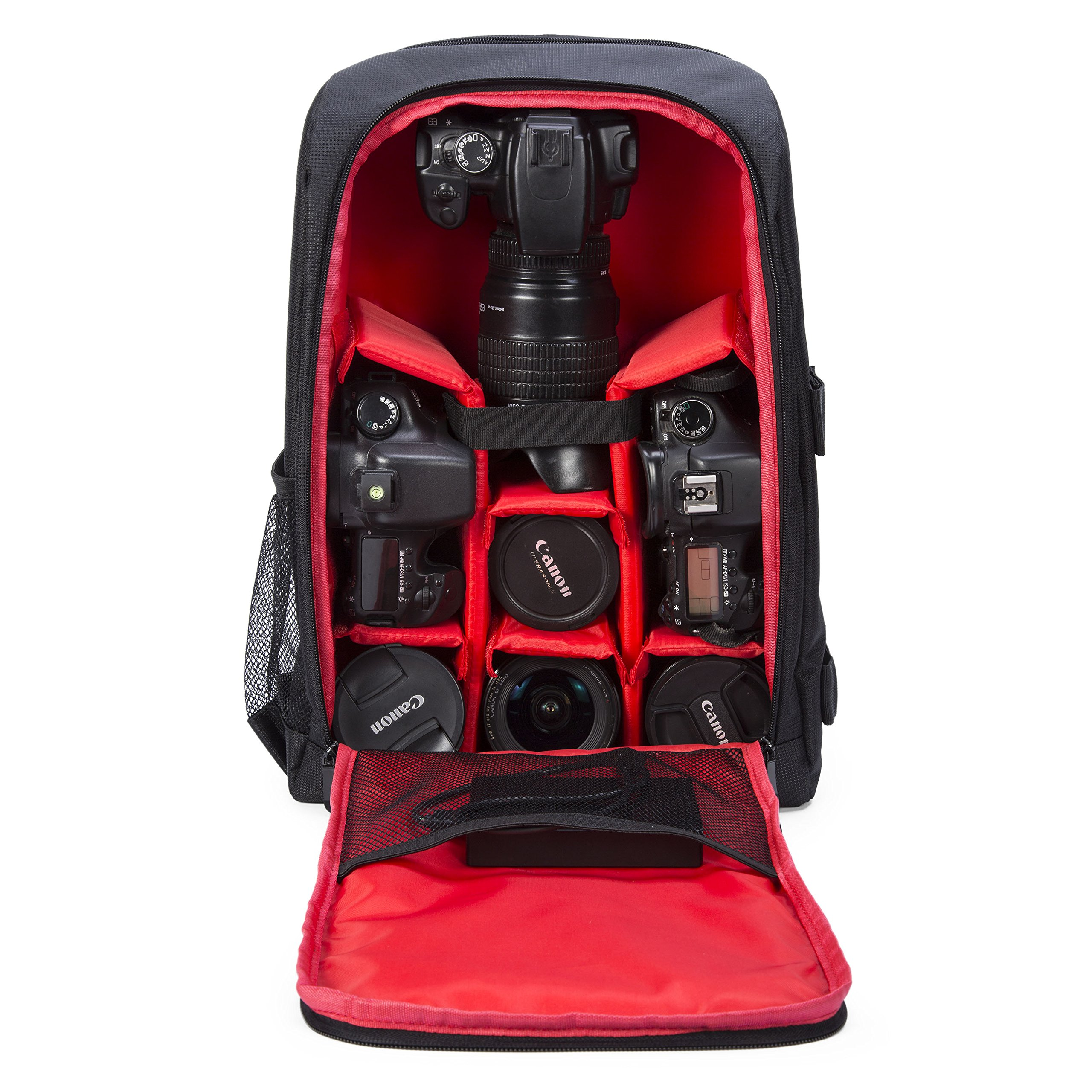 G-raphy Camera Backpack Waterproof for DSLR/SLR Cameras (Canon, Nikon, Sony and etc), Laptops, Tripods, Flashes, Lenses and Accessories (Red)