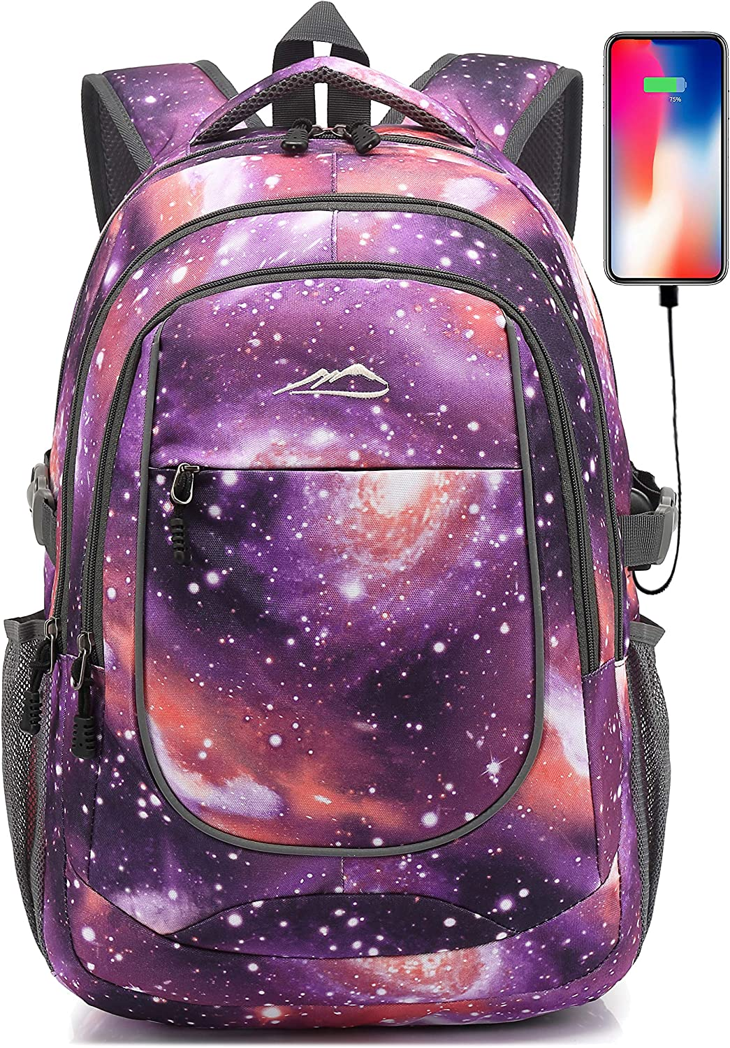 Backpack for School College Student Sturdy Bookbag Travel Business with USB Charging Port