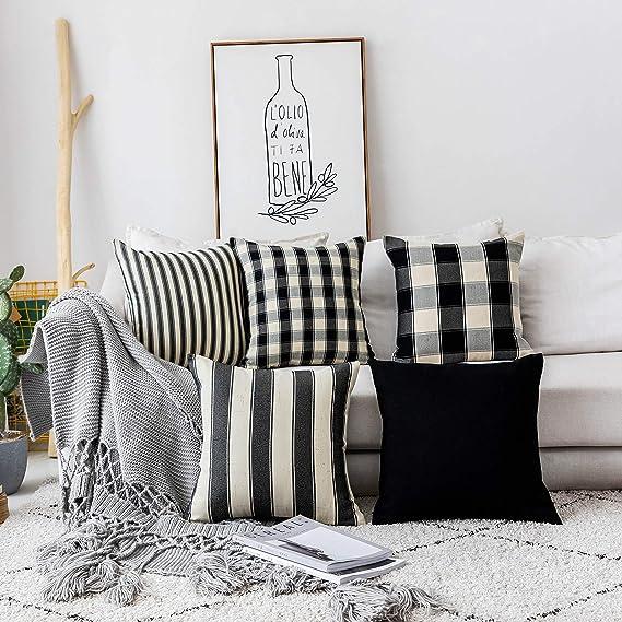 "Set of 4 Tartan /& Herringbone Patchwork Stripe Grey /& Black 18/"" Cushion Covers"
