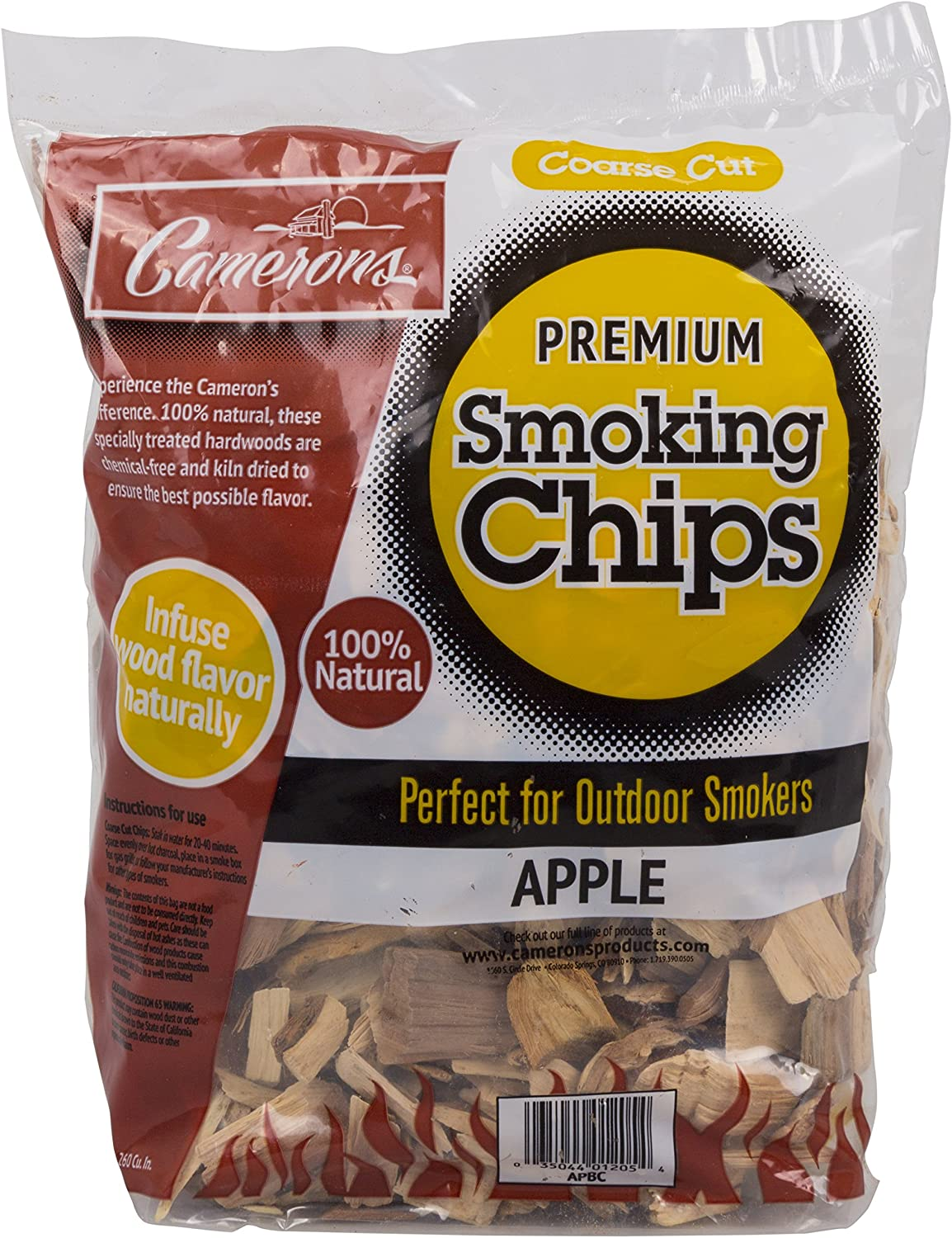 Smoking Chips - (Hickory) - 260 cu. in. (0.004m³) - Kiln Dried, Natural Coarse Wood Smoker Chunks - 2 Pound Bag Barbecue Chips : Smoker Chips : Garden & Outdoor
