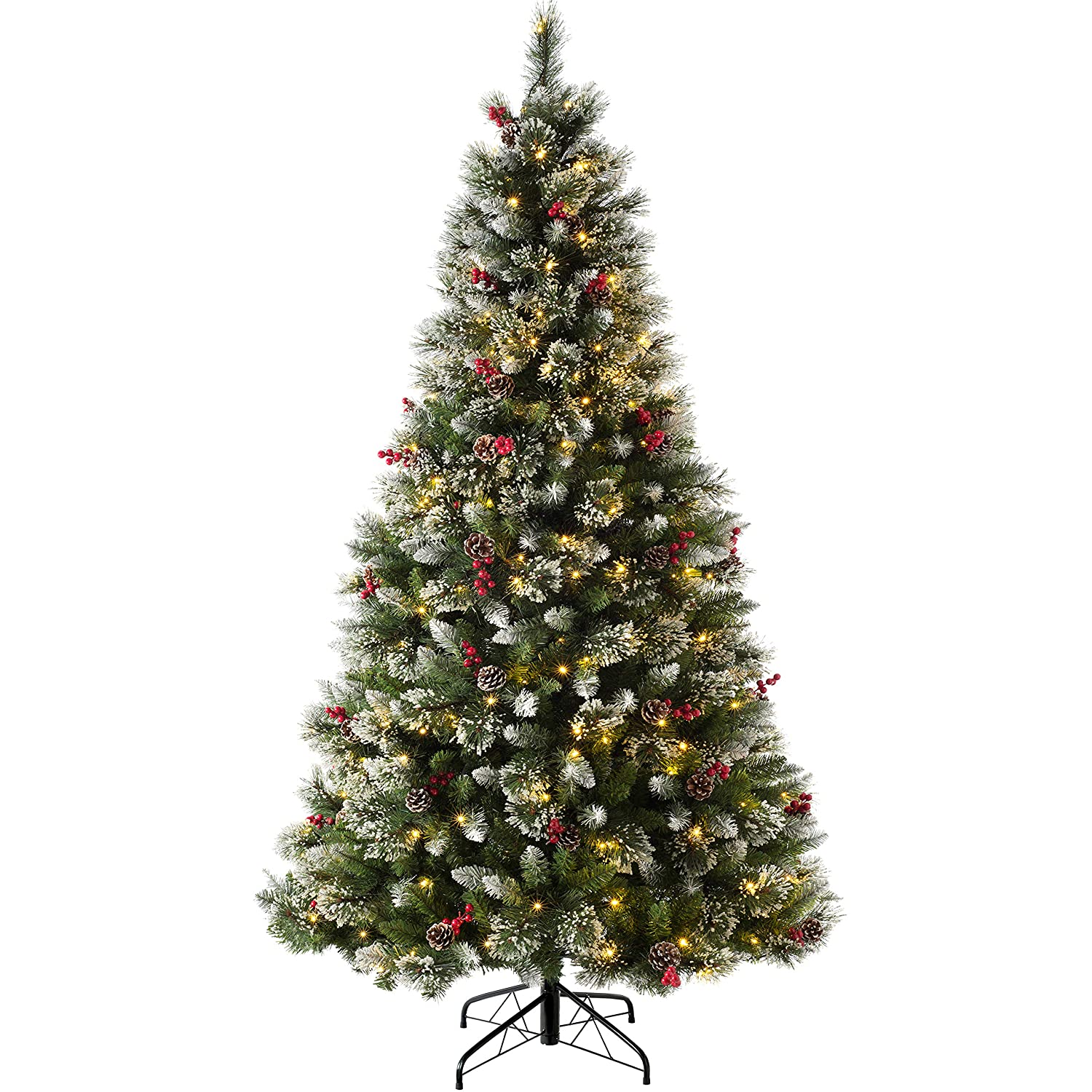 Star Trading Ottawa 7ft White Pine Artificial Christmas Tree with 260 Warm White