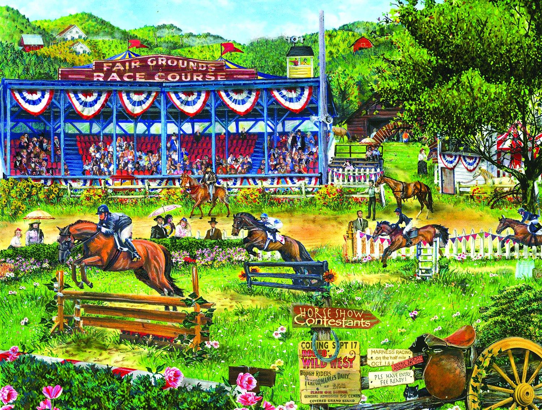 SunsOut 28627 - Wood: Pferderennen - 300 Teile Puzzle