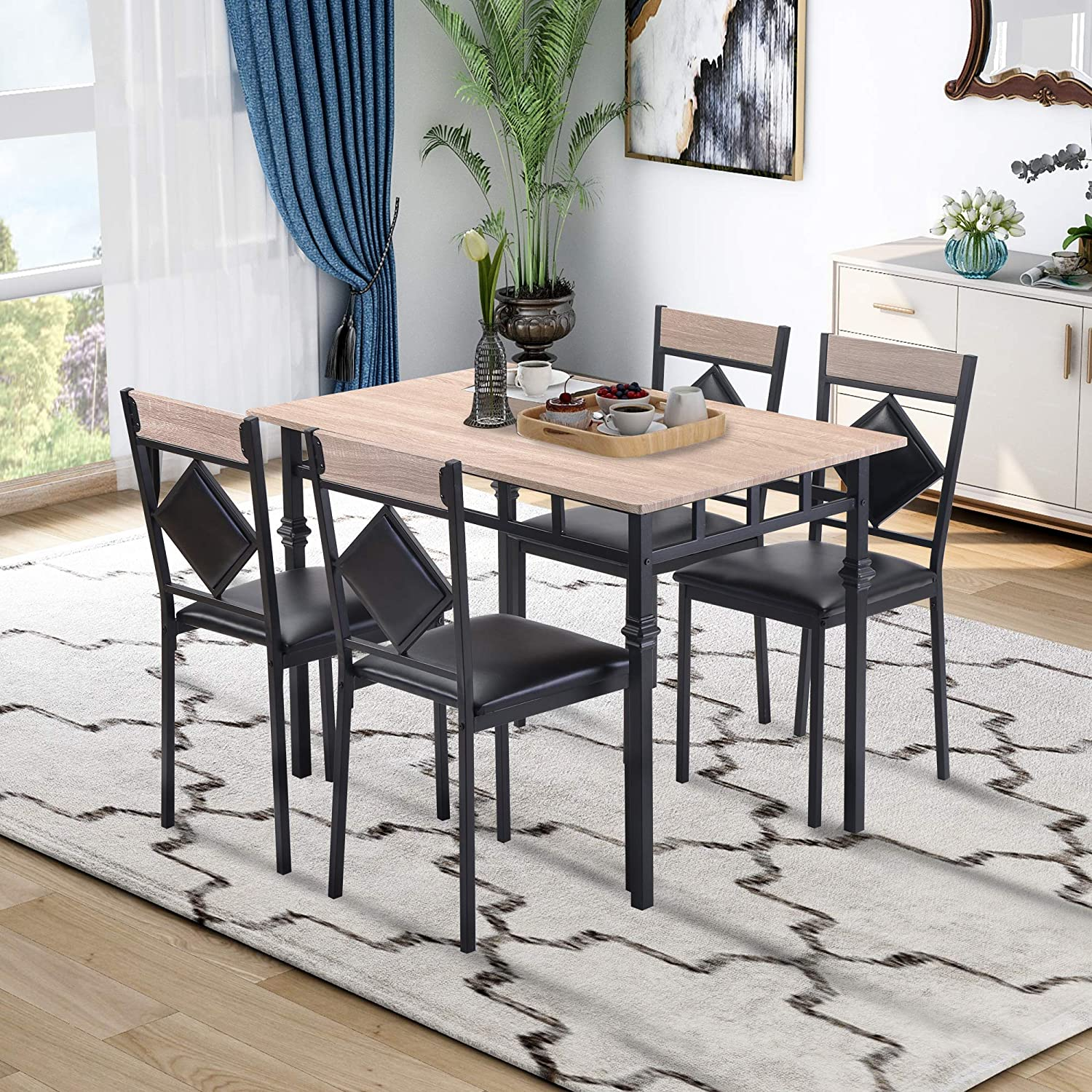 Recaceik 5 PC Table Set Wood Kitchen Desk and 4 Dining Faux Leather Chair, with Metal Frame, Easy to Assemble, for Living, Party Room Occasions Home Furniture, Beige