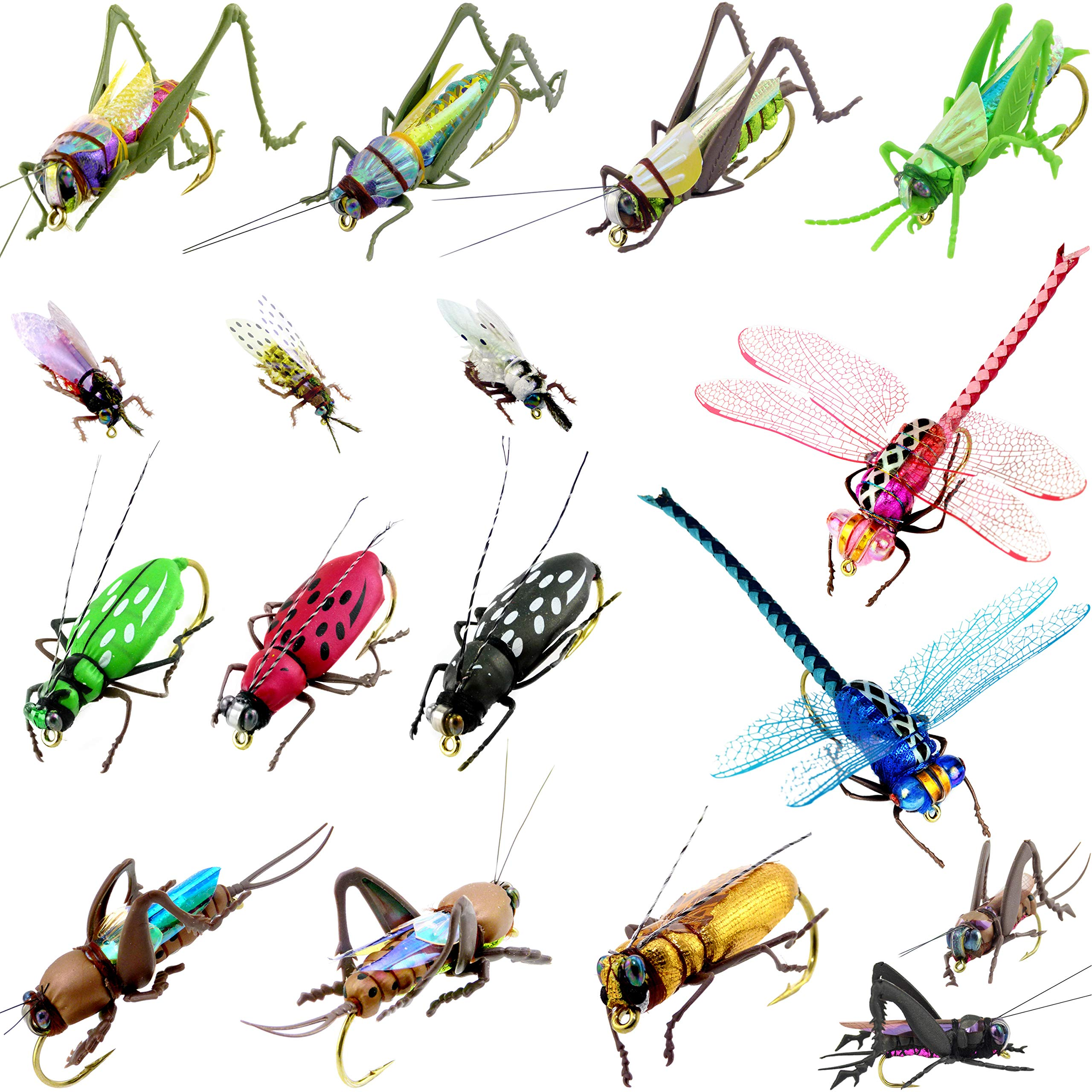 YAZHIDA Realistic Flies Fly Fishing Flies kit - Handmade Dry/Wet/Fly Fishing Lures - 3D Laser Compound Eyes-Waterproof Fly Box (Grasshopper Combination)