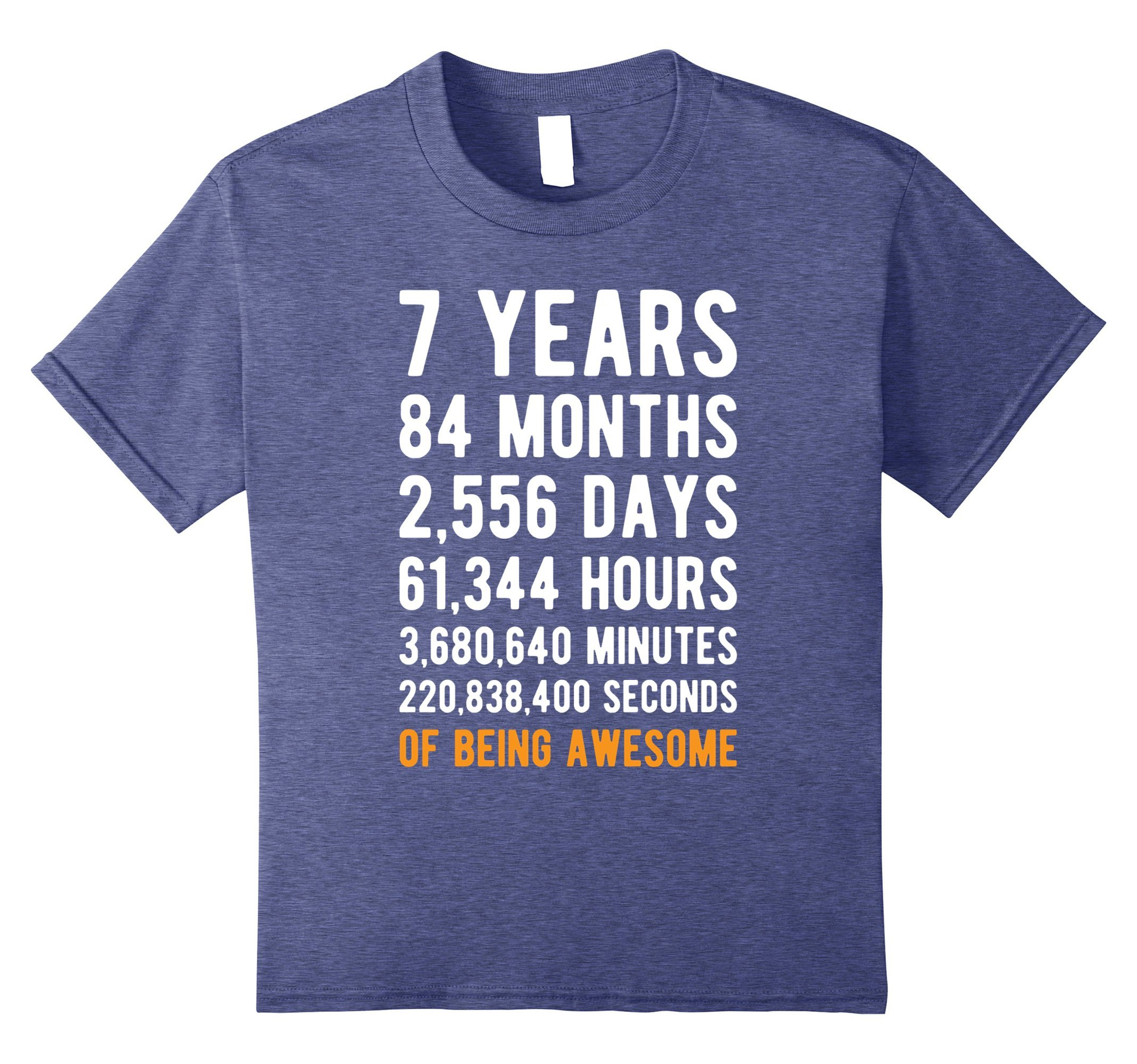 Kids 7th Birthday Gift T Shirt 7 Years Old Being Awesome Tee 8 Heather Blue by Birthday Countdown Apparel (Image #1)