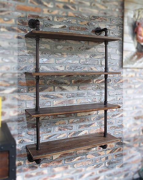LOKKHAN 31.5-Inch Industrial Pipe Shelves,Wall Mounted Metal Pipe Wood  Shelf,Rustic Pipe Ladder Bookshelf Bookcase,DIY Open Pipe Shelving