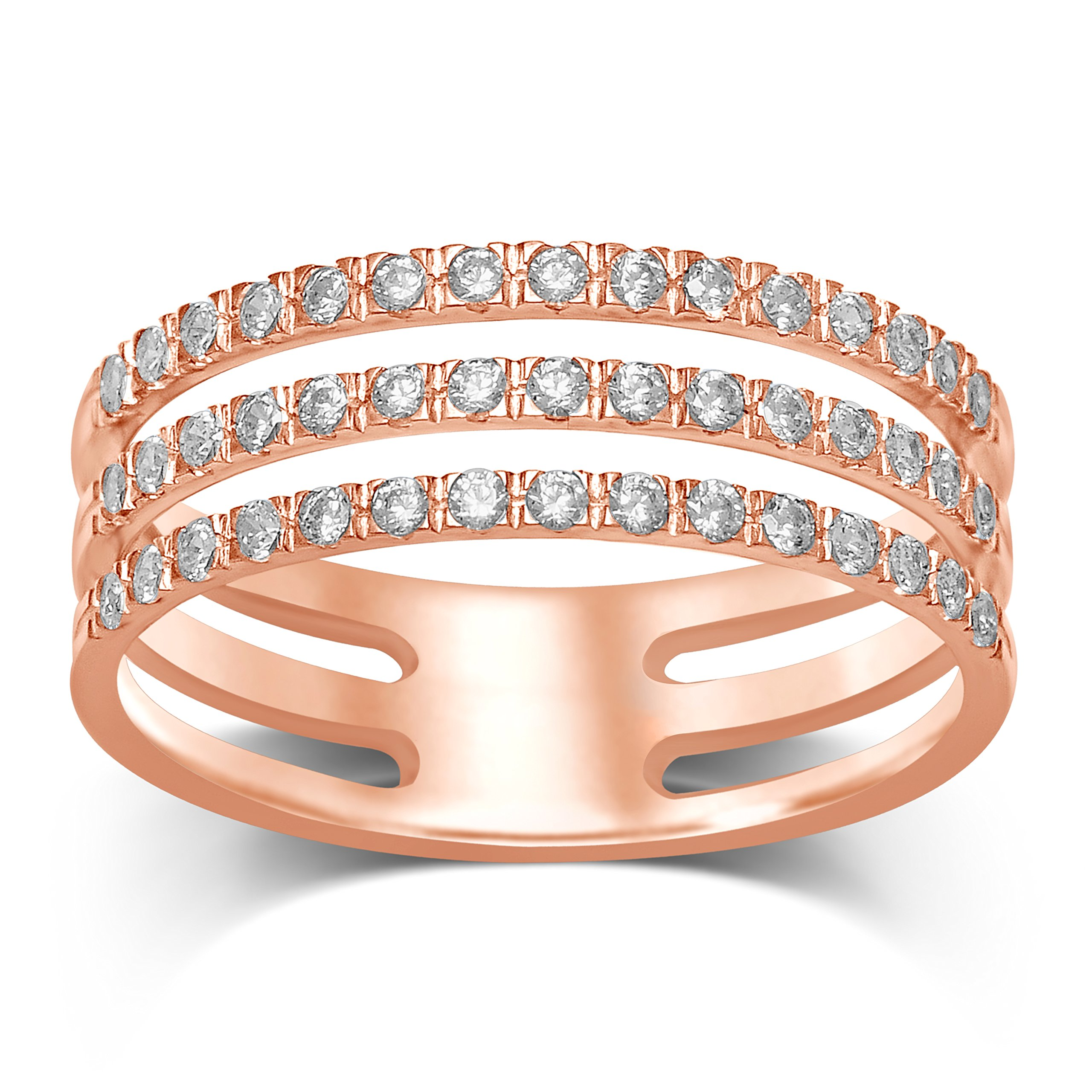 Diamond Jewel 14K Rose Gold 1/2 CT TW Diamond (H-J, I1) 3-Row Stack Ring
