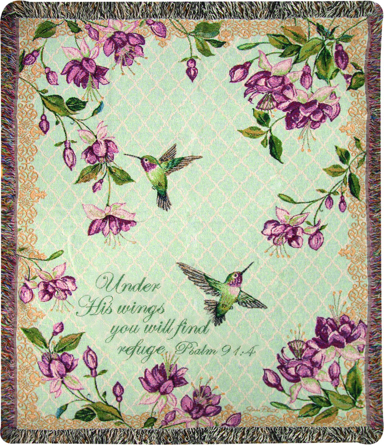 Manual Woodworkers & Weavers Tapestry Throw, Psalm 91:4, 50 x 60, Ruby's Among The Fuchsia's Scripture
