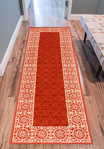 Well Woven Casa Tuscany Rust Orange Ivory Modern Classic Mediterranean Tile Border Floral 2 x 7 3 Runner Area Rug Soft Shed Free Easy to Clean Stain Resistant