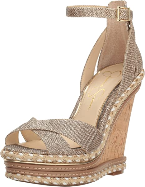 519cbc6d3ca Jessica Simpson Women s AHNIKA Wedge Sandal Gold 8.5 Medium US