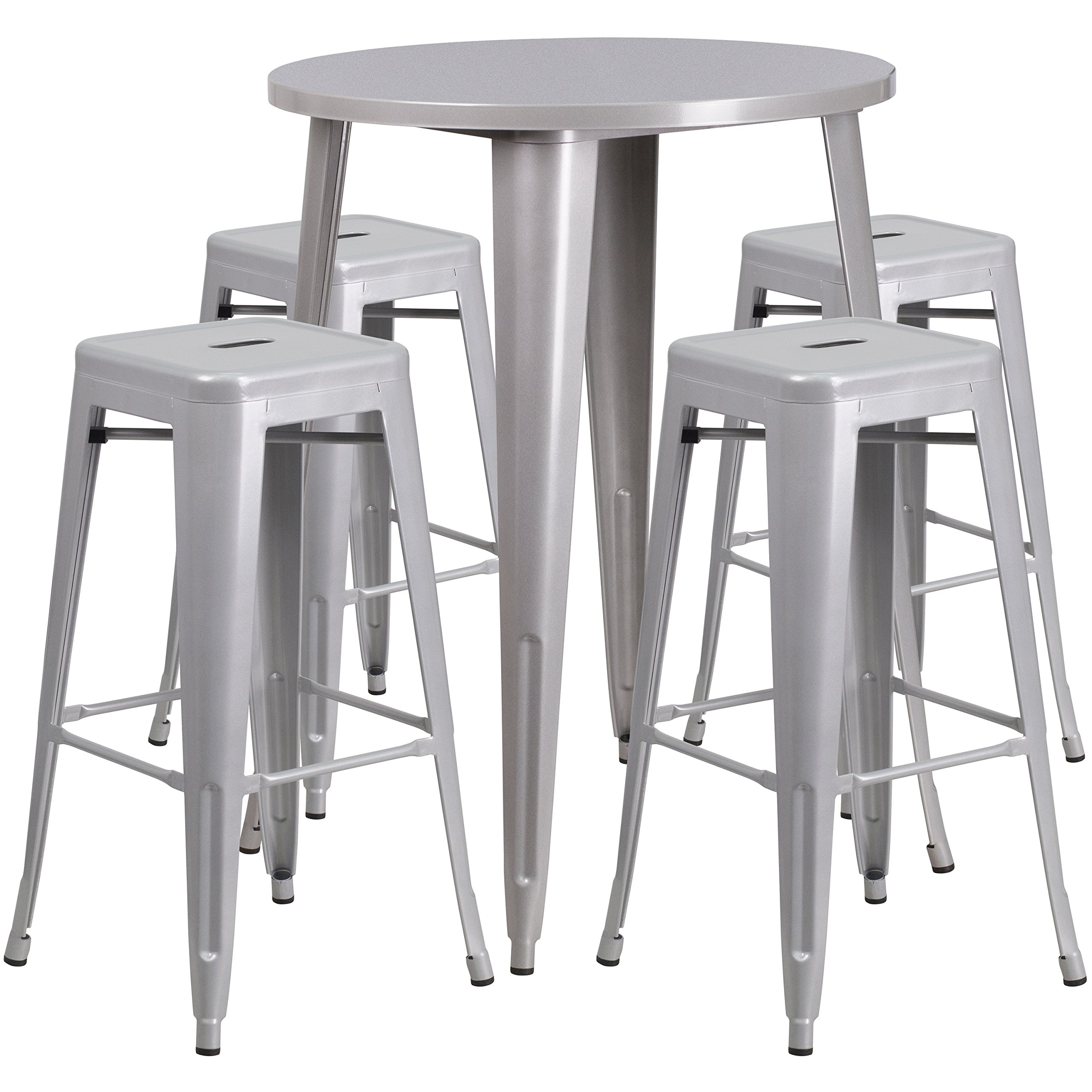 Flash Furniture 30'' Round Silver Metal Indoor-Outdoor Bar Table Set with 4 Square Seat Backless Stools