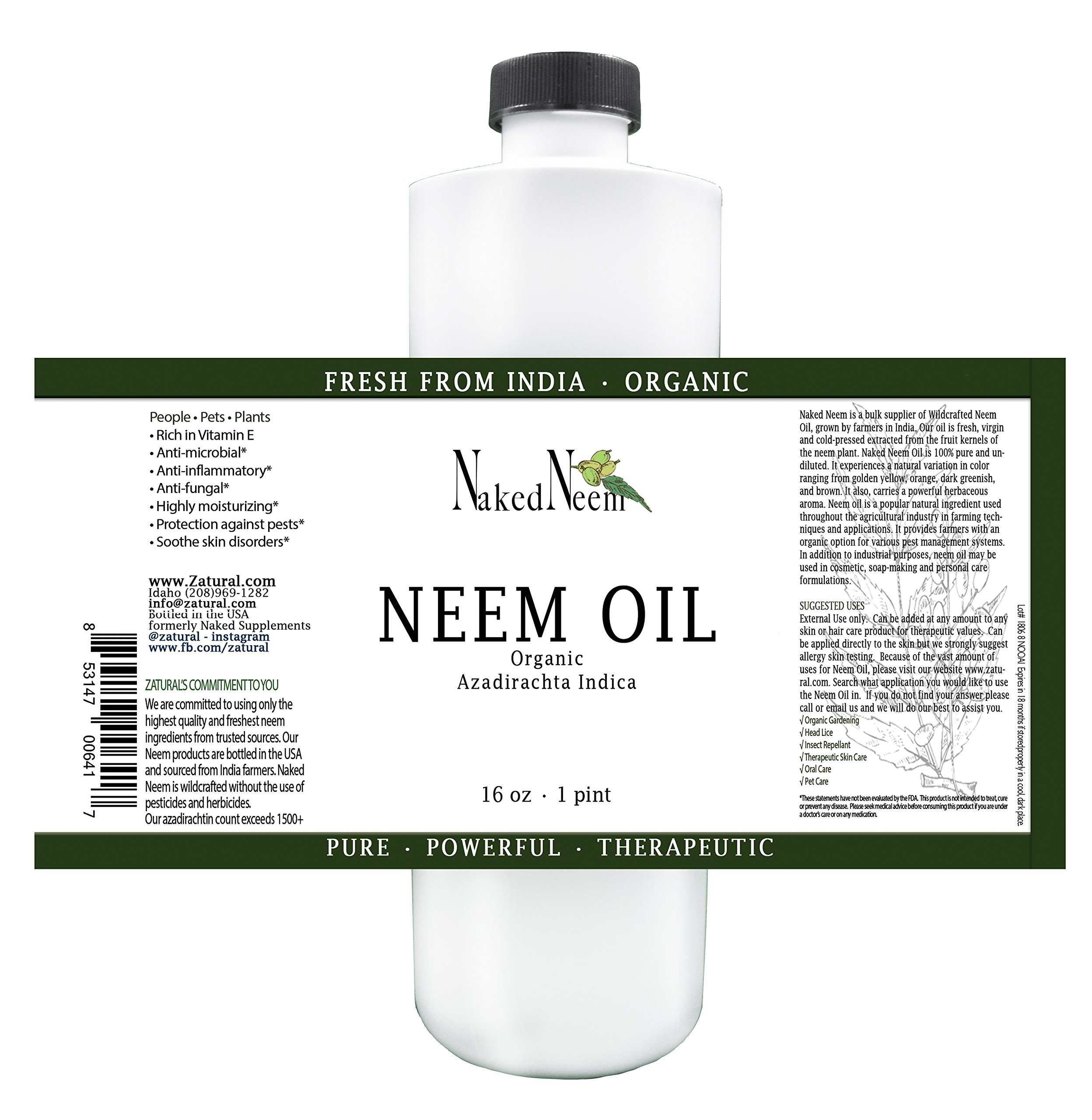 Organic Neem Oil (16 oz) 100% Pure Cold Press, Unrefined_6 Sizes, Best Prices (NEW LOOK)