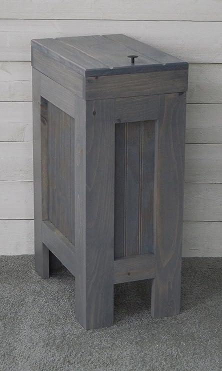Rustic Wood Trash Bin Kitchen Can Dog Food Storage