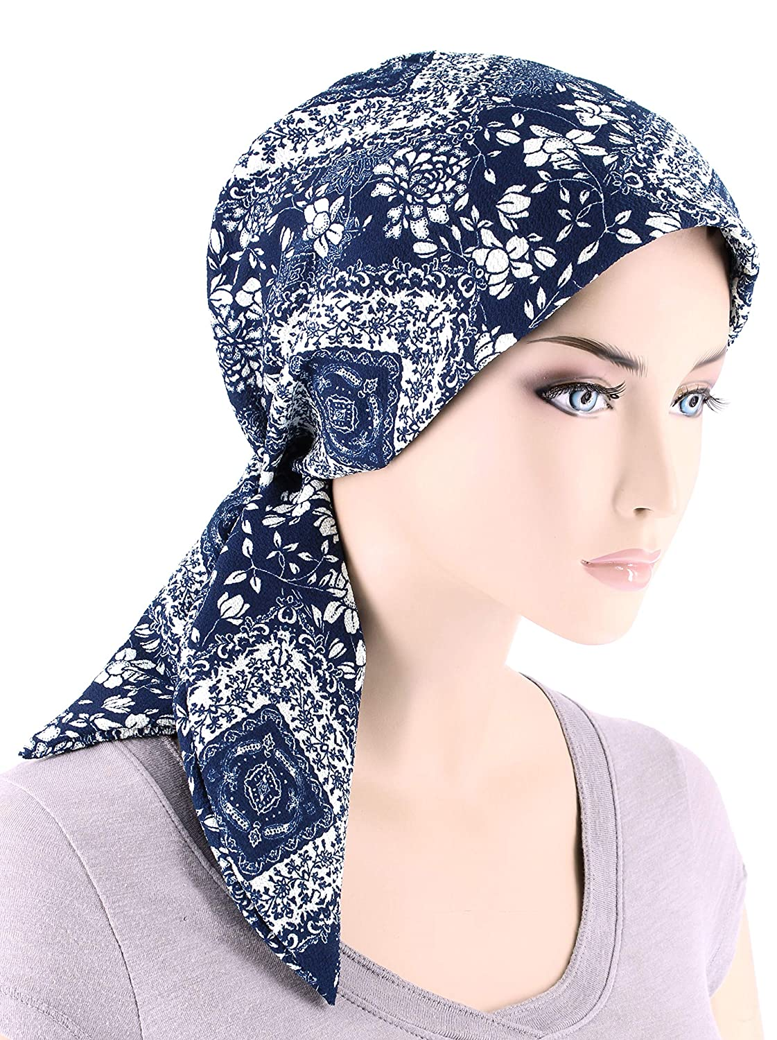 a29bb2b63db Chemo Fashion Scarf Easy Tie Turban Hat Headwear for Cancer Navy Blue White  Floral at Amazon Women s Clothing store